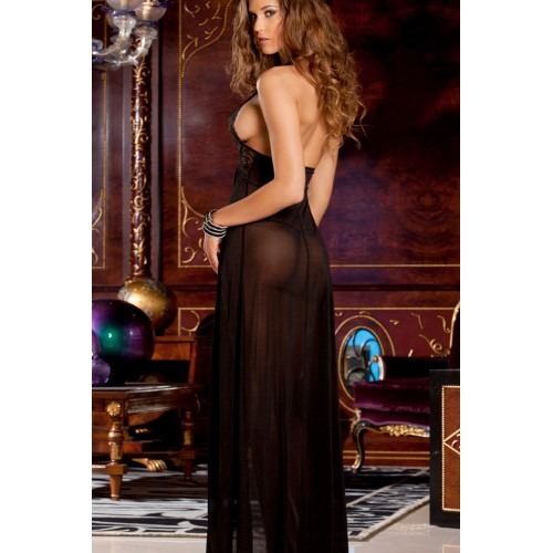Black Sheer Lace Evening Gown Set