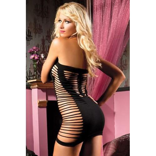 Black Tempting Tube Mini Chemise Dress