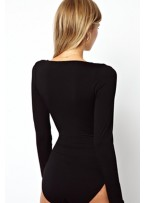 Wrap Front and Cut out Black Teddy Club Top
