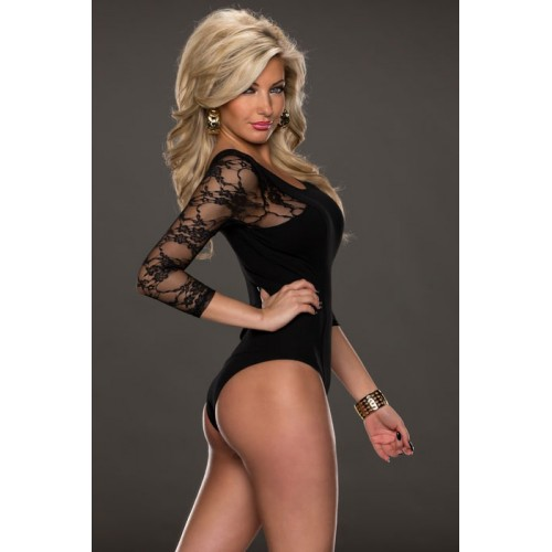 Black Lace Sleeves Teddy Lingerie