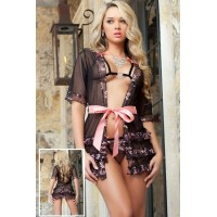 3 Pieces Innocent Affair Valentine Robe Set
