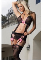 Black Bustier with Garter and Pink Bows