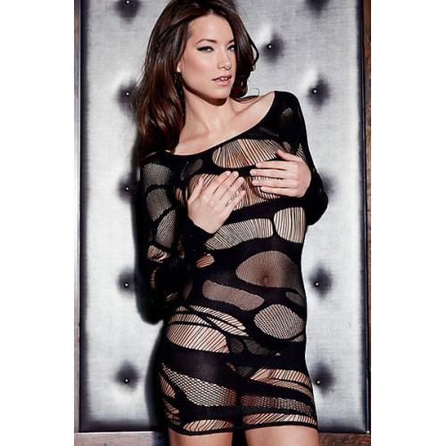 Black Flirtatious Long-sleeve Chemise Dress