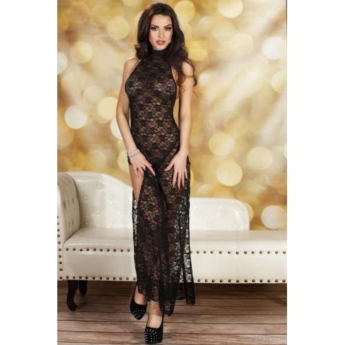 Black Midnight Cheongsam Style Long Dress