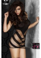 Black Sexy Striped Cutout Mini Chemise Dress