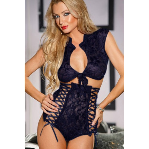 Blue Lace Tie Front Top and High Waisted Panty