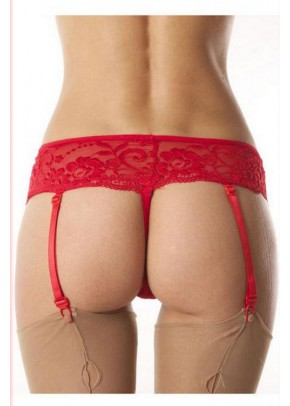 Sexy String With Suspenders Lingerie Red
