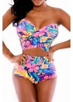 High-waisted Strapless Floral Print Bikini Set