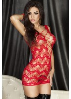 Red Crocheted Lace Hollow-out Chemise Dress