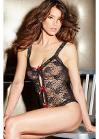 Red Heart-stopping Floral Lace Teddy Lingerie