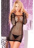 Sexy Erotic Net Long Sleeves Mini Chemise Dress