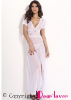 White Mesh and Lace V Neck Lingerie Gown